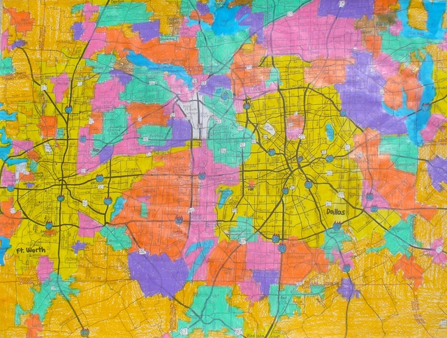 , 'Dallas/Ft. Worth Metroplex and Surrounding area Vicinity Map,' 2013, Joshua Tree Art Gallery