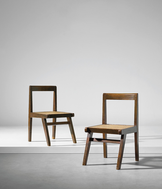 Pierre Jeanneret, 'Pair of chairs, model no. PJ-SI-15-A, designed for the Himalayan Hostel cafeteria and private residences, Chandigarh', 1955-1960, Phillips