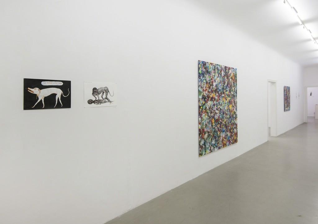 Installation shot Dave Bopp and Kevin Simón Mancera, 2015, Galerie Michael Sturm. (Left: Kevin Simón Mancera, right: Dave Bopp). Foto: Frank Kleinbach.