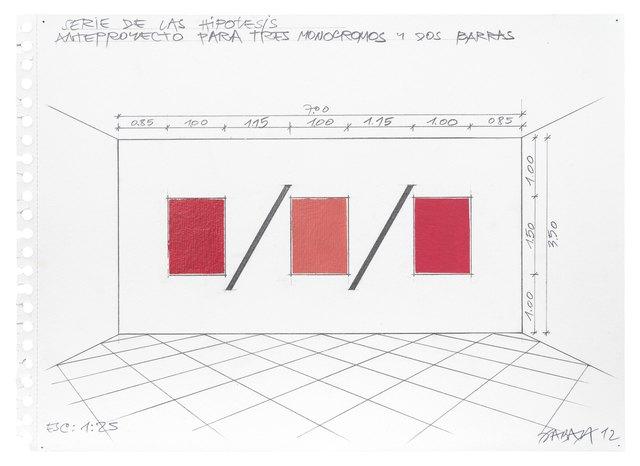 , 'Anteproyecto para tres monocromos y dos barras,' 2012, Henrique Faria   Buenos Aires