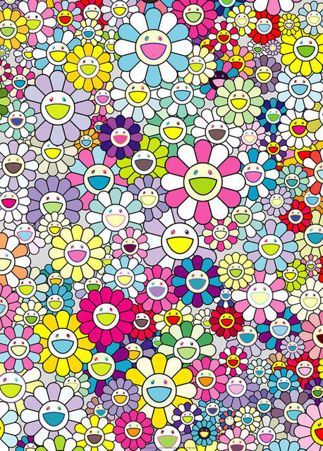 Takashi Murakami, 'Champagne Supernova: Multicolor + Pink and White Strips', 2018, Print, Offset print with silver, Lougher Contemporary