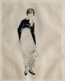 Woman standing in long dress with court shoes