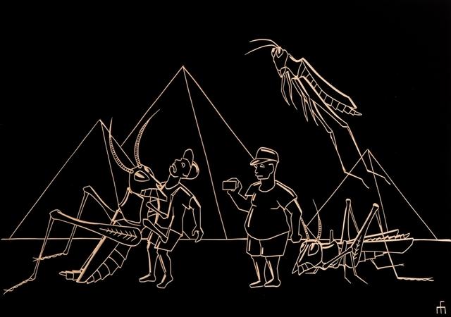 , 'Giant Grasshoppers Massacre Tourists by the Pyramids of Giza,' 2019, Careva