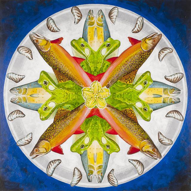 , 'Atlantic Salmon, American Bullfrog, Brook Trout, Zebra Mussel, Yellow Floating Heart,' 2018, Linda Hodges Gallery