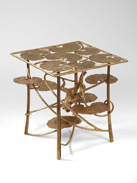 Table lotus et singe carr e en bronze - Table carree 120x120 ...