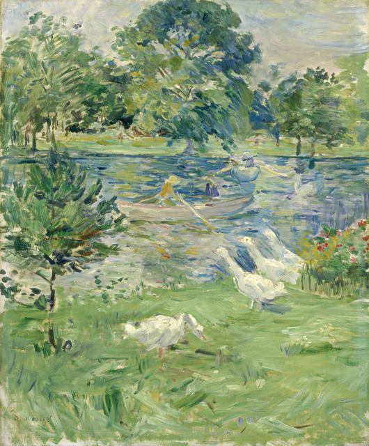 Berthe Morisot, 'Girl in a Boat with Geese', ca. 1889, Painting, Oil on canvas, National Gallery of Art, Washington, D.C.