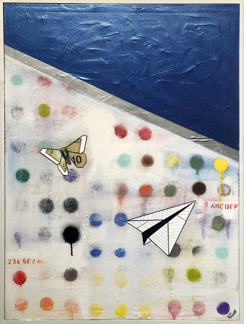 Guy Stanley Philoche, 'Metallic Blue with Paper Airplane and $10 Bill Butterfly', 2019, Cavalier Ebanks Galleries