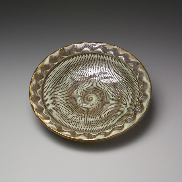 , 'Green and Brown Plate with Tobikanna Chatter Marks and Brushed Slip Hakeme Decoration,' 1991, LACOSTE / KEANE GALLERY