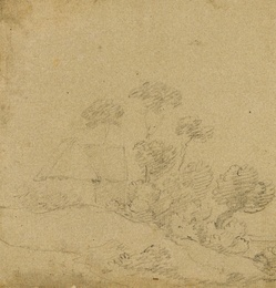Study of a Cottage and Trees [recto]