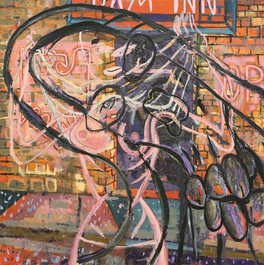 "Luis Rafael Galvez. ""Dam Inn"", 2018. Oil on canvas. 44 by 44 inches."