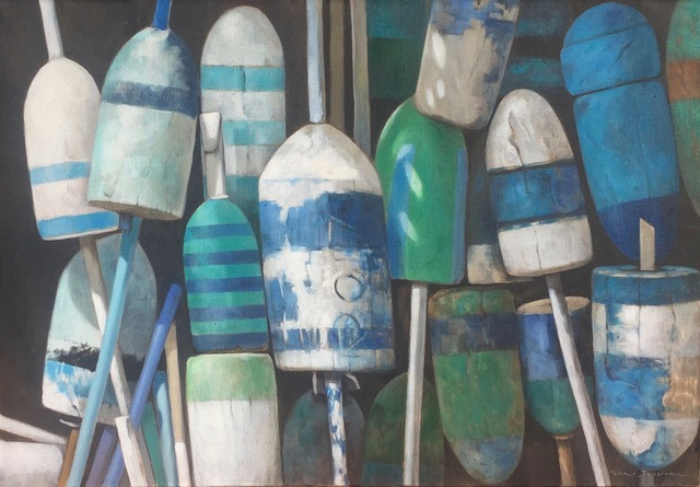 ", '""Buoy Bouquet"" photorealistic oil painting of vibrant blue, white and green buoys on linen,' 2017, Eisenhauer Gallery"
