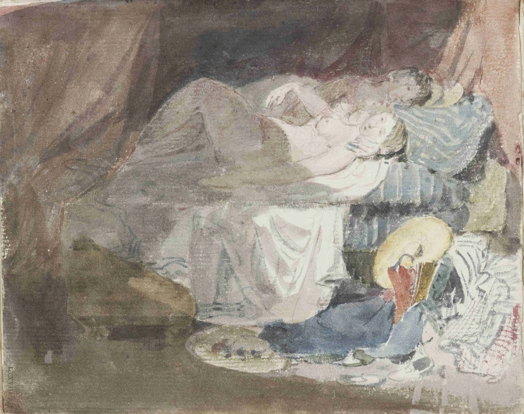 "Joseph Mallord William TURNER ""Nude Swiss girl and a companion on a bed"", from ""Swiss figures"" sketchbook, 1802, graphite and watercolour on paper, Tate: Accepted by the nation as part of the Turner Bequest 1856 image ©Tate, London 2017"