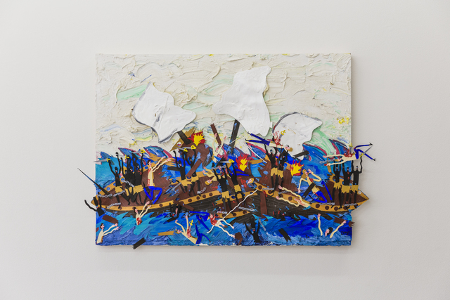 , 'The sea breeze feels fine and the water is warm, great day for a slave revolt on the high seas  ,' 2018, V1 Gallery