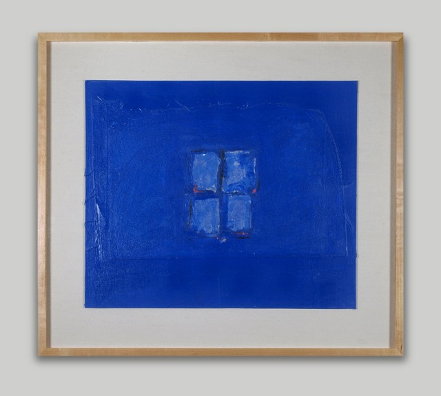 Adja Yunkers, 'Blind Window of Night', 1982, Painting, Collage on Paint, Approximately Blue