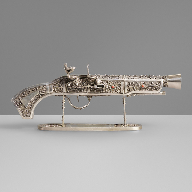 'Sterling silver flintlock pistol model', c. 1965, Wright