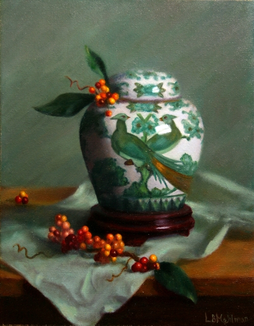 Lynne B. Mehlman, 'Peacocks and Berries', ca. 2015, The Guild of Boston Artists