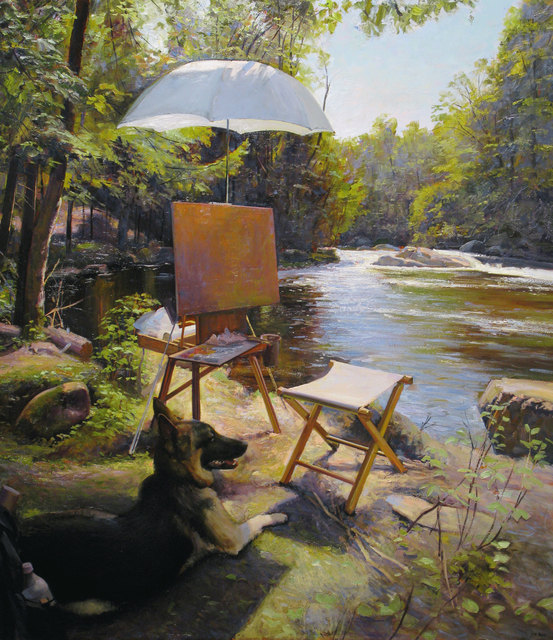 Joel Babb, 'Painting by the Brook – Breughel Watching, Nezinscot River, Turner, Maine', 2012, Vose Galleries