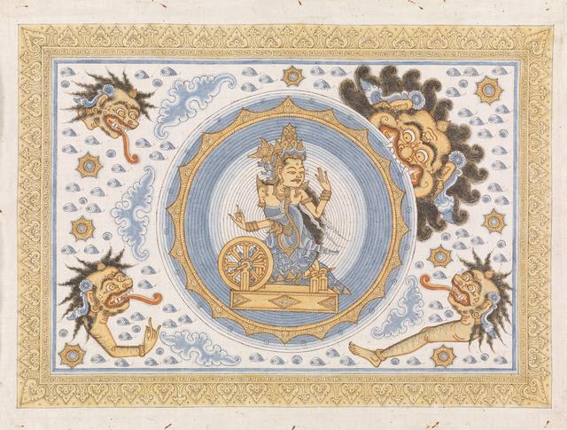 , 'Painting, Kala Rau swallowing Dewl Raith, goddess of the moon,' Kamasan, Bali, Indonesia, late 20th century, Bard Graduate Center Gallery