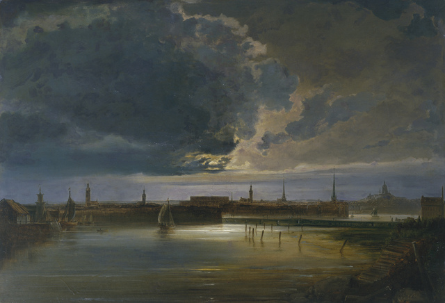 , 'Moonlit View of Stockholm,' about 1850, The National Gallery, London