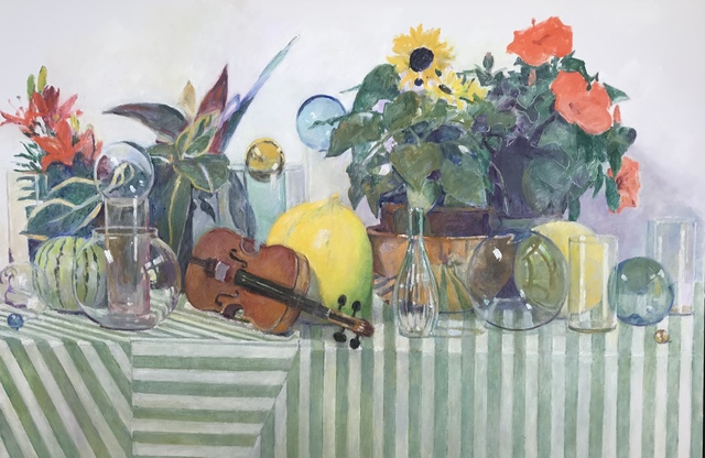 , 'Still Life on Striped Table with Violin and Living Plants,' 2018, Les Yeux du Monde Gallery