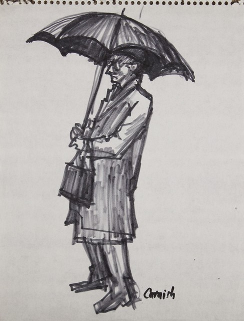 , 'Man standing with umbrella ,' , Castlegate House Gallery