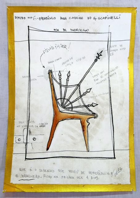 , 'Projeto para ofendículo  Asa de Morcego para cadeira do Giuseppe Scapinelli [Project to Batwing barrier to chair by Giuseppe Scapinelli],' 2015, Portas Vilaseca Galeria