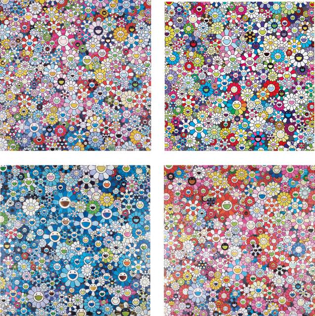 Takashi Murakami, 'Shangri-La Blue; Shangri-La Pink; Bouquet of Love; and Shangri-La Shangri-La Shangri-La', 2012; and 2016, Phillips