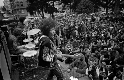 Jimi Hendrix Playing a Free Concert in Panhandle, San Francisco, 1967