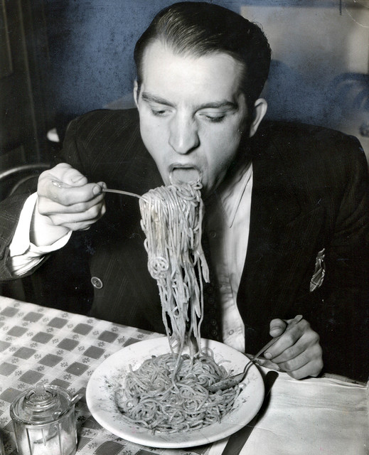 , 'Phillip J. Stazzone is on WPA and Enjoys His Favorite Food as He's Heard That the Army Doesn't Go in Very Strong for Serving Spaghetti,' 1940, Foam Fotografiemuseum Amsterdam