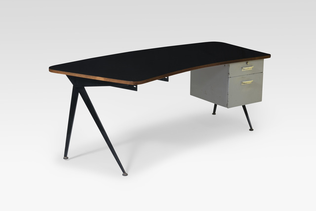 ", '""Compass"" desk, curved tabletop with drawers,' 1950, Galerie Le Beau"