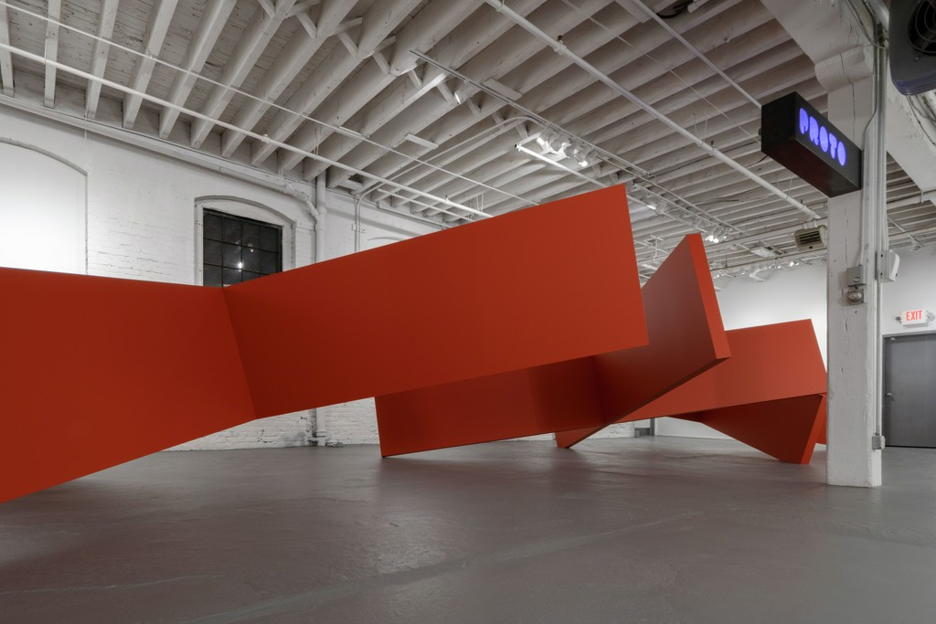 A group of four X shaped minimal forms in Thomas Lendvai's LANDSCAPE at PROTO Gallery.