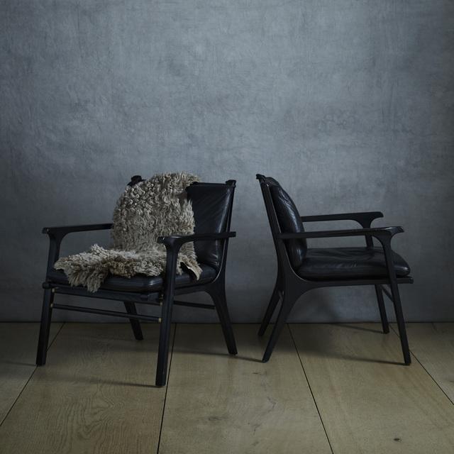 SPACE Copenhagen, 'Ren Collection lounge chairs, pair', Design/Decorative Art, Fumed oak, leather, brass, Rago/Wright
