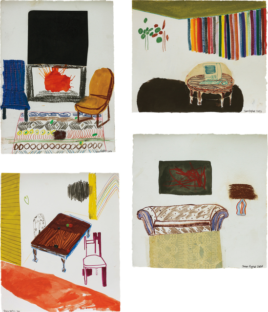Shara Hughes, 'Four works: (i) Black Art and Fireplace; (ii) Computer Table with Rainbow Shades; (iii) Rainbow Lamp; (iv) Grown-Up Table', 2006, Phillips