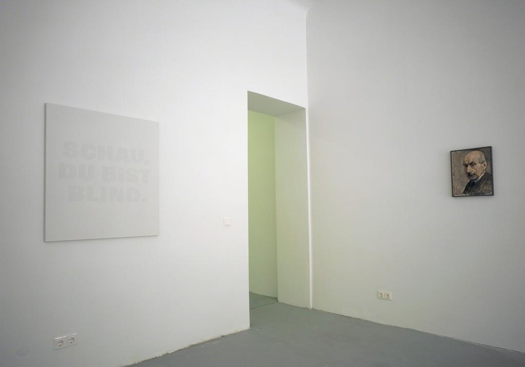 Installation view, Remy Zaugg Schau Du Bist Blind. with self-portrait by Max Liebermann