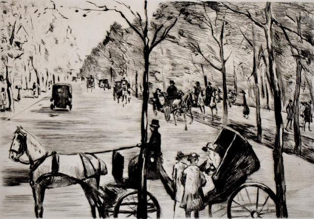 Lesser Ury, 'Avenue in the Tiergarten with Carriage in the Foreground | Allee im Tiergarten mit Kutsche im Vordergrund', 1920, Gilden's Art Gallery