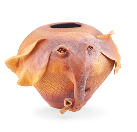 Raku-fired ceramic elephant
