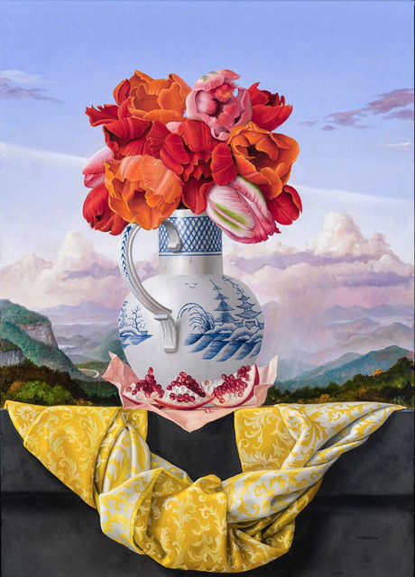 James Aponovich, 'Still Life with Tulips and Pomegranate', 2019, Painting, Oil on canvas, Clark Gallery