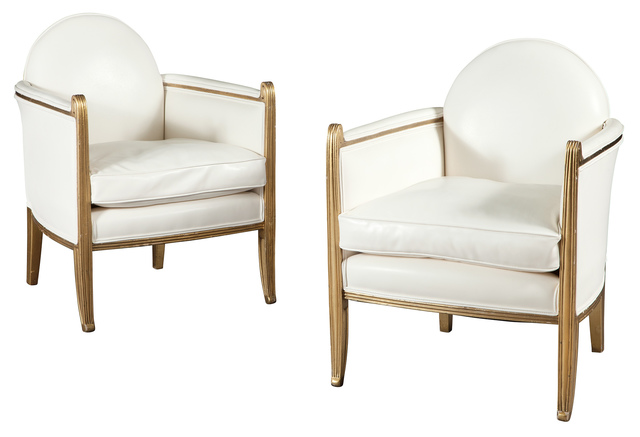 'Pair of Art Deco Upholstered Giltwood Armchairs', 1940s, Design/Decorative Art, Doyle