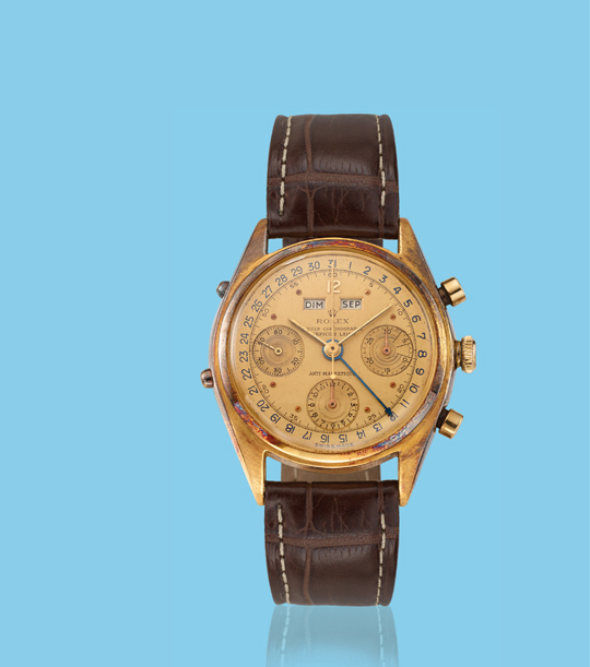 ", 'Yellow gold chronograph ""Datocompax"" wristwatch, ref. 4767,' ca. 1950, Davide Parmegiani Fine Watches"