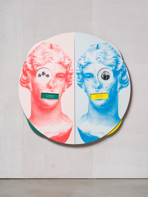 Kathryn Andrews, 'Wheel of Foot in Mouth No. 3 (Song of Sappho)', 2019, Installation, Aluminium, stainless steel, paint, ink, magnets, KÖNIG GALERIE