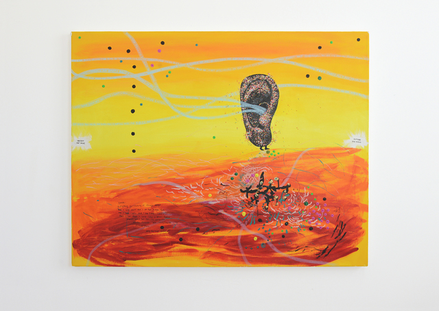 Yael Kanarek, 'Ear Pop', 1995, Painting, Acrylic, candy sprinkles, and marker on canvas, bitforms gallery