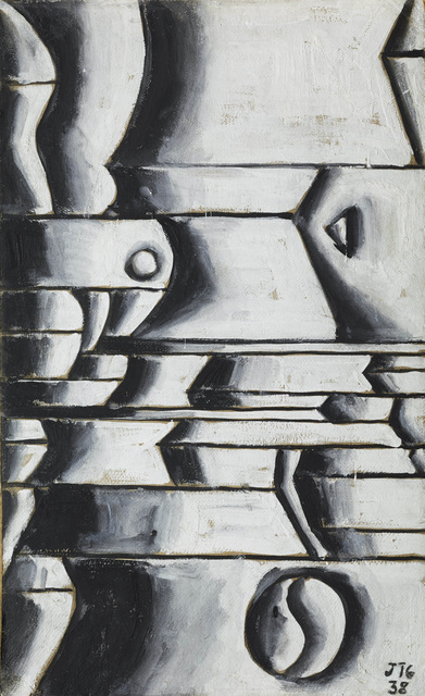 , 'Estructura en blanco y negro con ritmos curvos y oblicuos (Structure in white and black with curved and oblique rhythms),' 1938, The Museum of Modern Art