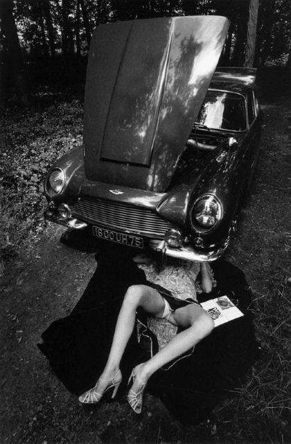 , 'Alone Under a Car with Open Hood, Paris,' 1975, Ira Stehmann Fine Art Photography