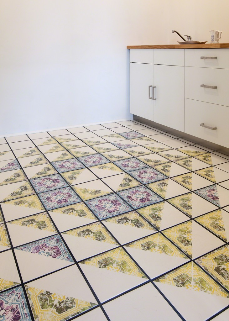 Permanent tile installation in gallery kitchen in conjunction with Flowers of War exhibition.
