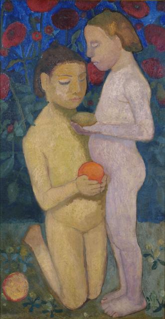 , 'Stehender und kniender Mädchenakt vor Mohnblumen II (Kneeling and Standing Girls Nude, Poppies in the Background II),' 1906, Louisiana Museum of Modern Art