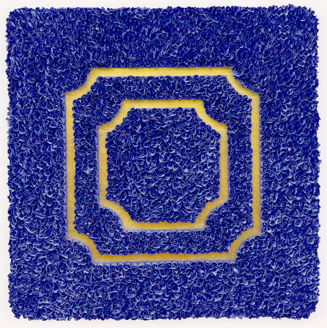 ", '""Divisions (blue) relief object with Japanese paper and gold leaf,' 2009, Atrium Gallery"