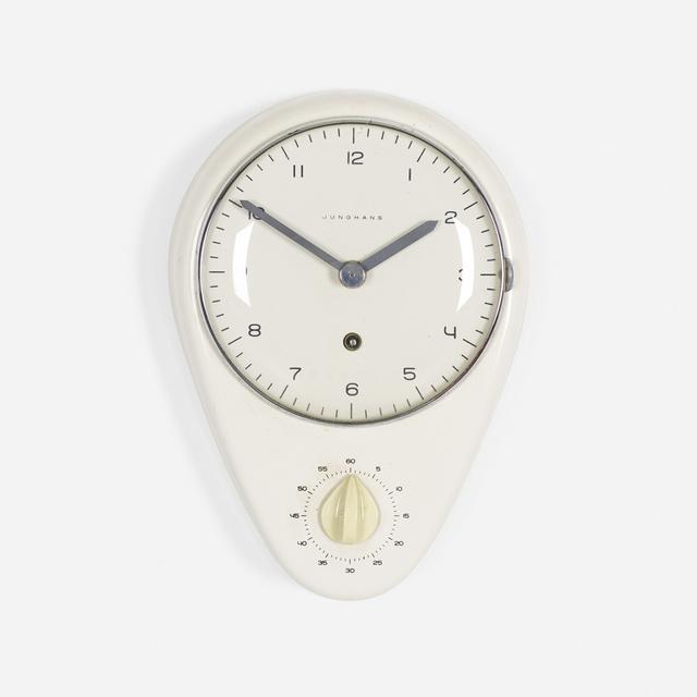 Max Bill, 'wall clock and timer', 1954, Design/Decorative Art, Glazed porcelain, glass, aluminum, enameled aluminum, Rago/Wright