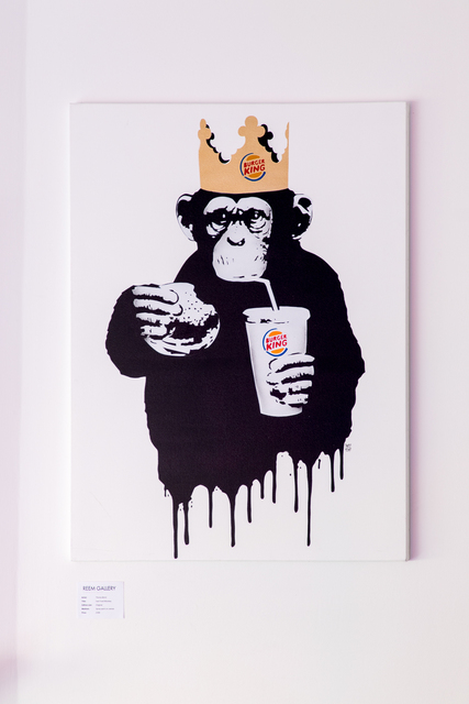 Thirsty Bstrd, 'Fast Food Monkey: Burger King ', 2018, Painting, Spray paints and stencil on canvas, Reem Gallery