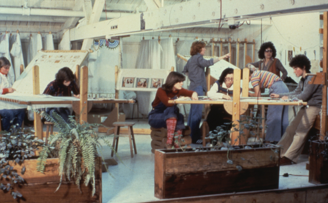 ", 'Judy Chicago and Others Working in ""The Dinner Party"" Needlework Loft,' 1978, Brooklyn Museum"