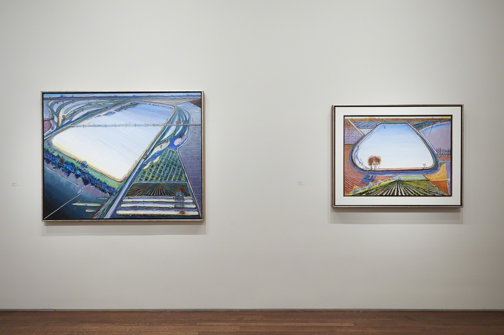 Left to Right:  Wayne Thiebaud, Flood Waters, 2006/13, Private Collection; Wayne Thiebaud, Levee Reservoir, 2017; From the Artist's Studio; Photo by Kent Pell, Art © Wayne Thiebaud / Licensed by VAGA, New York, NY